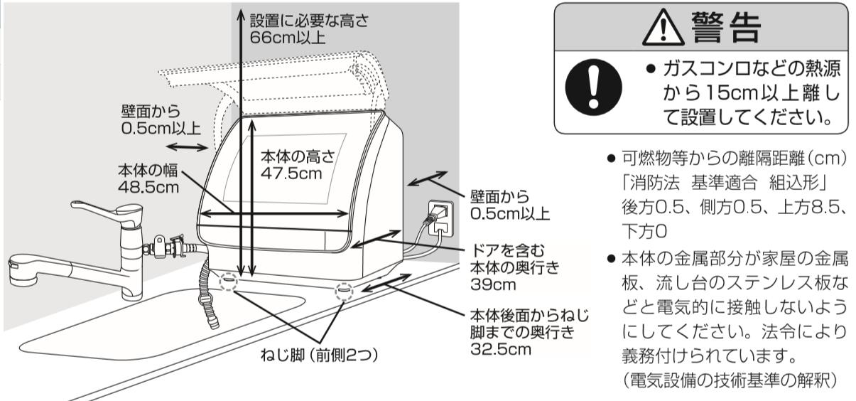 アクア食洗機設置寸法